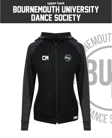 Bournemouth University Dance Black Womens Contrast Hoodie (Logo Emb, Everything Else Print)