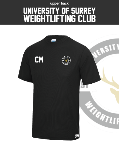 Team Surrey Weightlifting Black Mens Performance Tee (All Print)