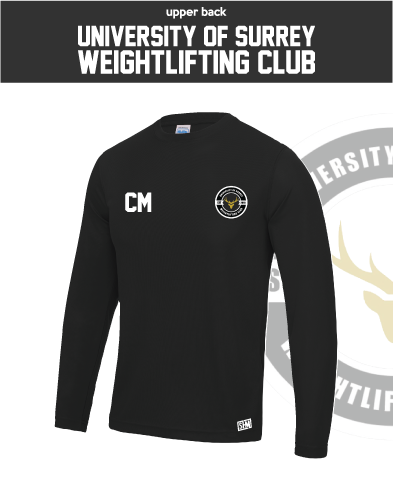 Team Surrey Weightlifting Black Mens Long Sleeve Performance Tee (All Print)