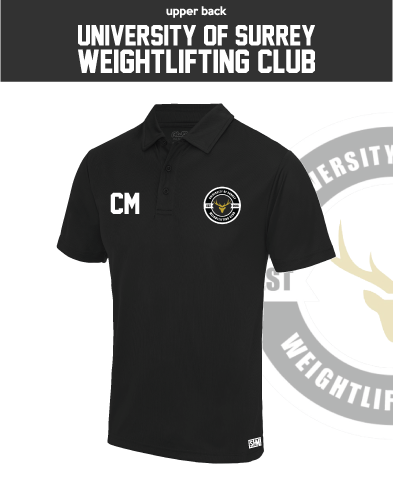 Team Surrey Weightlifting Black Unisex Performance Polo (Logo Embroidery, Everything Else Print)