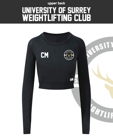 Team Surrey Weightlifting Black Womens Long Sleeve Crop Top (All Print)
