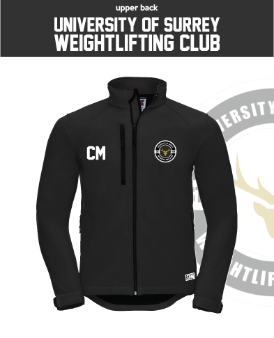 Team Surrey Weightlifting Black Mens Softshell (Logo Embroidery, Everything Else Print)