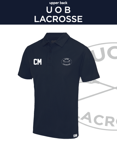 Birmingham University Lacrosse Navy Unisex Performance Polo (Logo Embroidery, Everything Else Print)