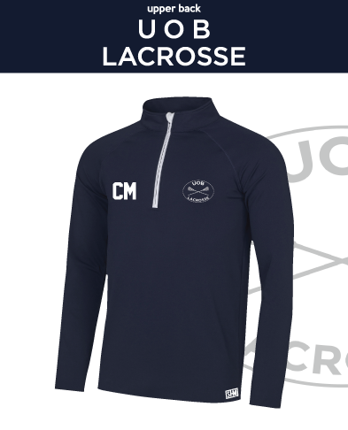 Birmingham University Lacrosse Navy Mens Performance Sweatshirt (Logo Emb, Everything Else Print)