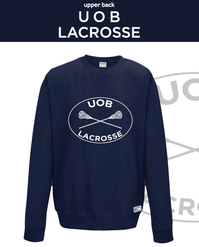 Birmingham University Lacrosse Navy Unisex Sweatshirt (Logo Embroidery, Everything Else Print)