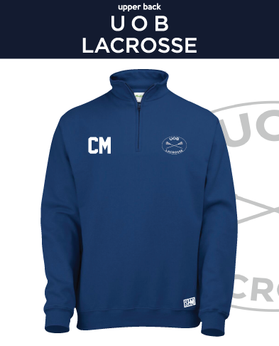 Birmingham University Lacrosse Navy Unisex 1/4 Zip Sweatshirt (Logo Emb, Everything Else Print)