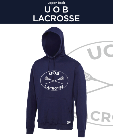 Birmingham University Lacrosse Navy Unisex Hoodie (Logo Embroidery, Everything Else Print)