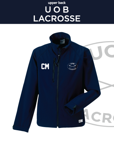 Birmingham University Lacrosse Navy Mens Softshell (Logo Emb, Everything Else Print)