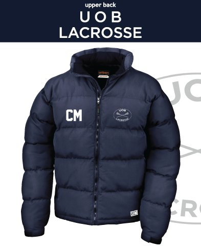 Birmingham University Lacrosse Unisex Navy Puffa (Logo Emb, Everything Else Print)