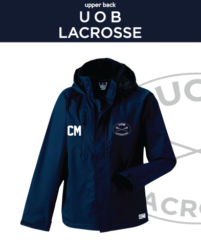 Birmingham University Lacrosse Navy Mens Hydroplus Jacket (Logo Emb, Everything Else Print)