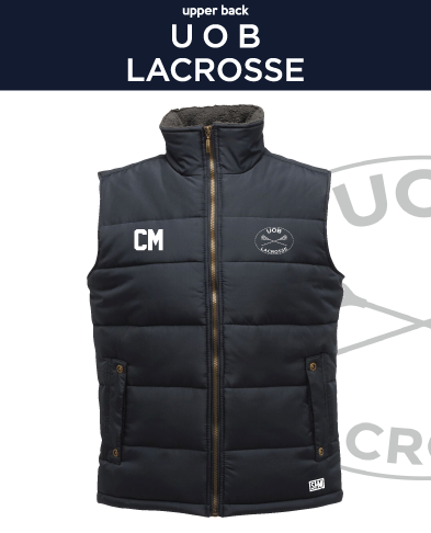 Birmingham University Lacrosse Navy Unisex Gilet (Logo Embroidery, Everything Else Print)