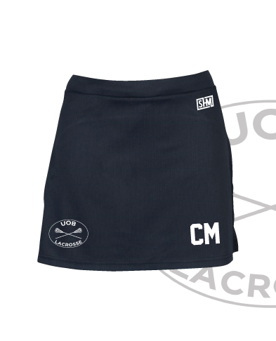 Birmingham University Lacrosse Navy Womens Skort (Logo Emb, Everything Else Print)