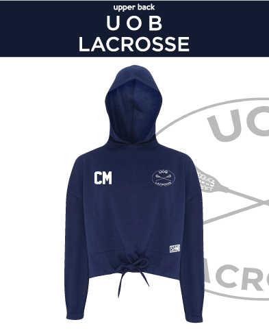 Birmingham University Lacrosse Navy Womens Cropped Hoodie (Logo Emb, Everything Else Print)