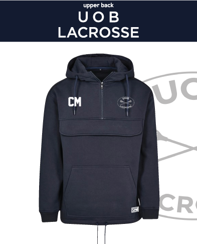 Birmingham University Lacrosse Navy Mens Pull Over (Logo Emb, Everything Else Print)
