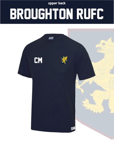 Broughton Rugby Navy Mens Performance Tee (All Print)