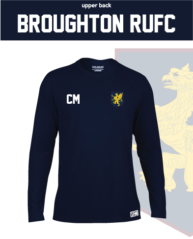Broughton RUFC Navy Mens Long Sleeve Performance Tee (All Print)