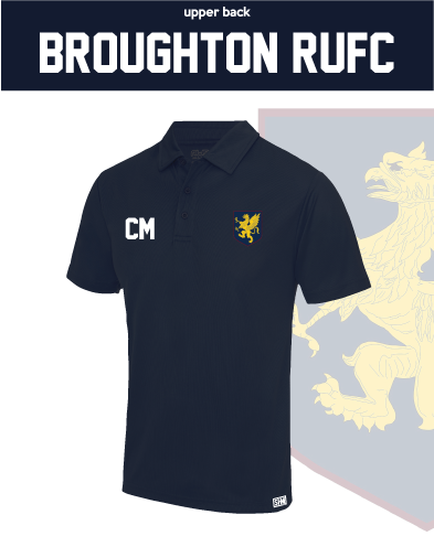 Broughton RUFC Navy Mens Performance Polo (Logo Embroidery, Everything Else Print)