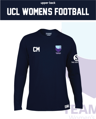 UCL Womens Football Unisex Navy Long Sleeve Performance Tee (All Print)