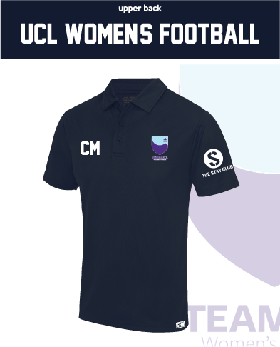UCL Womens Football Navy Performance Polo (Logo Embroidery, Everything Else Print)